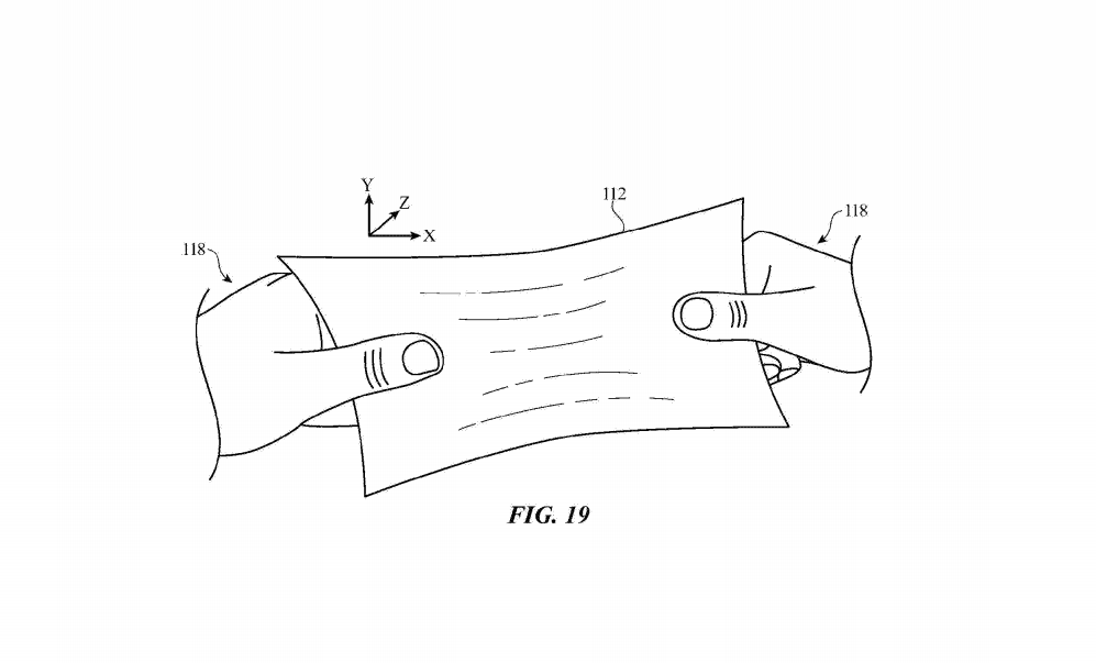 An illustration for a stretchable display, as described in a new Apple patent.